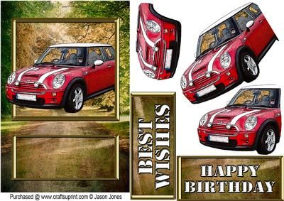 Red new style Mini card front on Craftsuprint designed by Jason Jones - Cracking…