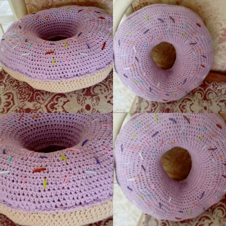 Dinut pillow. Cojín en forma de dona. Easy crochet