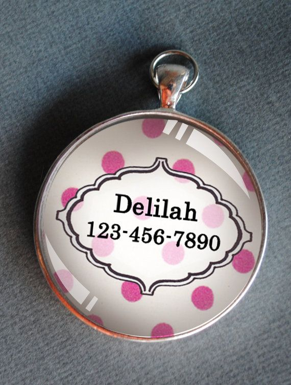 Pet iD tag one inch round CAT ID small breed Dog Tag Dog tag Cat Tag by California Kitties pink and white polka dot round ID CT0307 on Etsy, $8.27 AUD