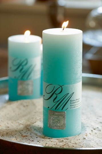 Frosted Candle ocean blue 18x7