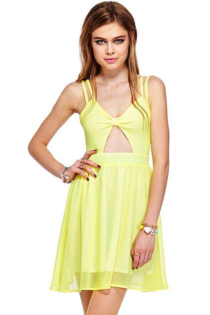 ROMWE | ROMWE Cut-out Bowknot Sheer Yellow Strap Dress, The Latest Street Fashion  #Romwe