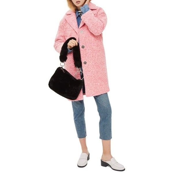 Women's Topshop Fluoro Boucle Cocoon Coat (3.005 CZK) ❤ liked on Polyvore featuring outerwear, coats, bright pink, oversized cocoon coat, boucle coats, oversized coat, oversized boucle coat and topshop coats