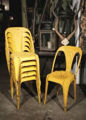 Old Metal Chairs.love The Bright Yellow!