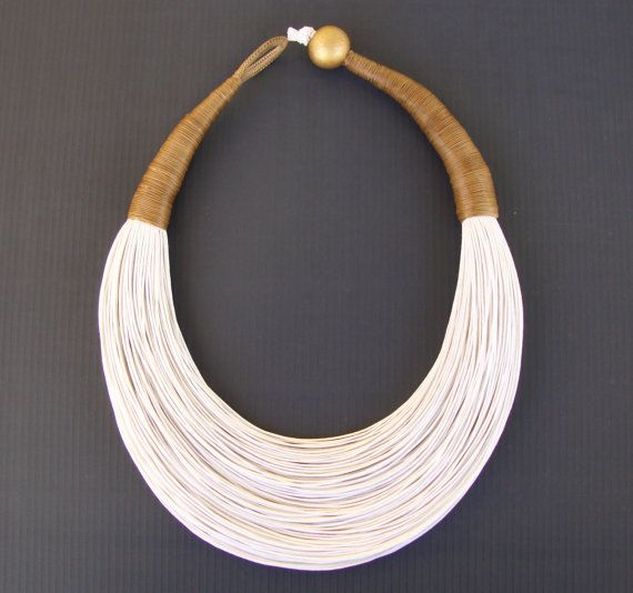 Statement Fiber Necklace, Minimalist Jewelry, Street Fashion, Trending Necklace, Bold Necklace, African Jewelry