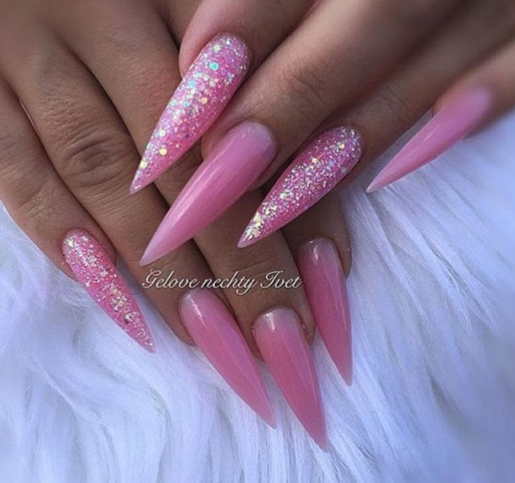 Long pink stiletto nails