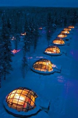 In Finland, you can rent an igloo with a clear top to watch the Northern Lights as you fall asleep! I must go here.