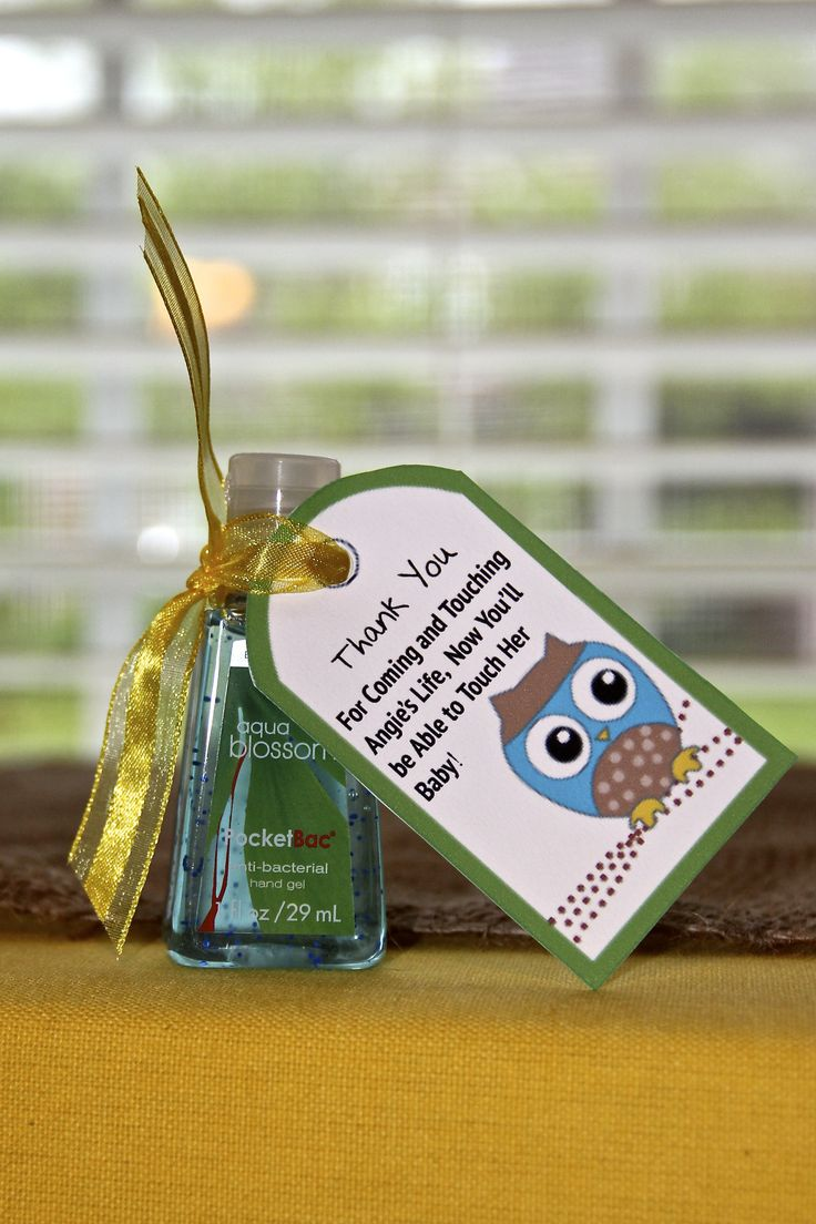 Cute Baby Shower Favor..anti bacterial hand sanitizer!
