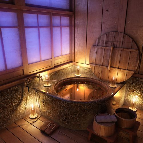 Gorgeous bathtub/hot tub. #tubs #bathroom: Bathroom Design, Romantic Bathroom, Bathtubs, Rustic Bathroom, Bathroom Idea, Night Time, Bathroomdesign, Hot Tubs, Design Bathroom