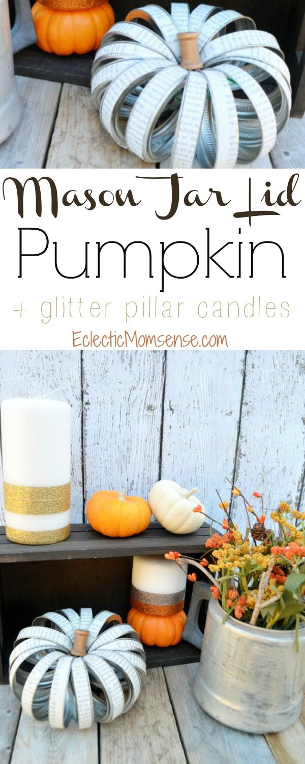 Mason Jar Lid Pumpkin + Glitter Pillar Candles |  Pull together a fun and glam fall tablescape with the help of @scotchbrand. #HandsOnCrafty AD @walmart