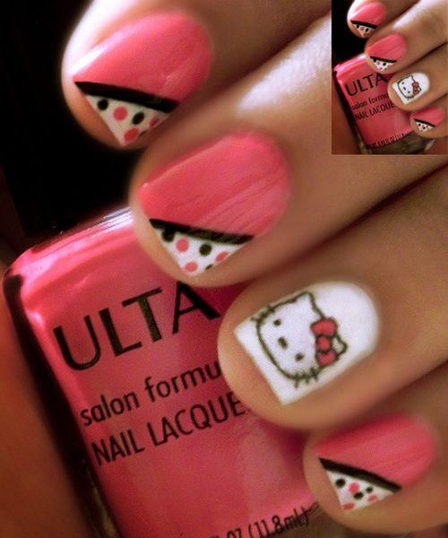 hello kitty nail art for short nails Hello Kitty Nail Art Stickers