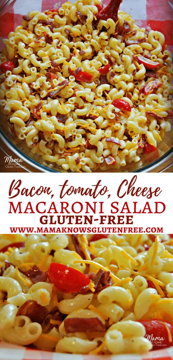 Super easy gluten-free macaroni salad that is creamy, but light. The tasty addition of bacon, tomatoes and cheddar cheese perfectly complement the sweet and tangy dressing. I promise no one will know it's gluten-free! Perfect for potlucks, backyard barbecues, or as an everyday meal! Recipe from www.mamaknowsglutenfree.com #macaronisalad #baconmacaronisalad #glutenfreemacaronisalad #glutenfreepastasalad #glutenfree