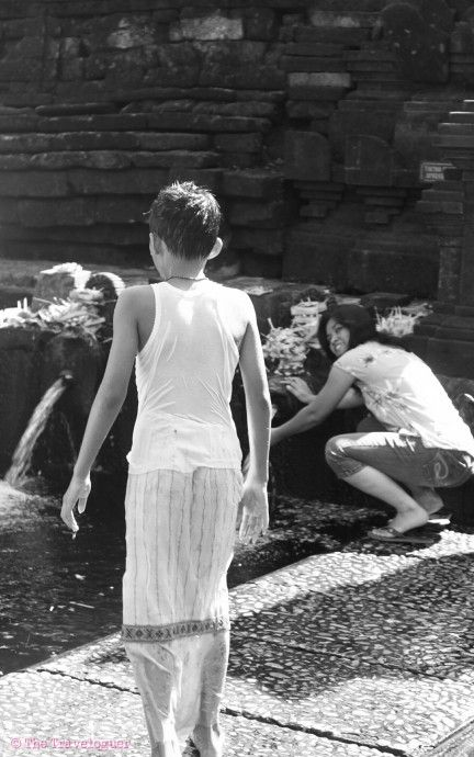 Monochrome Monday- Taking a Dip, Hindu Temple, Indonesia