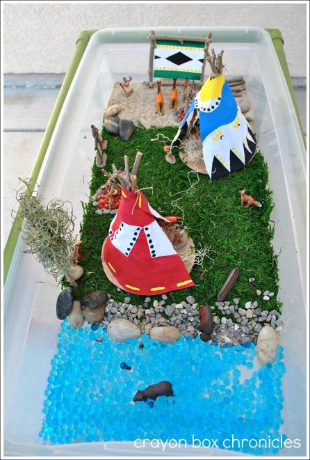 Native American Small World & Teepee & Drum Craft @ Crayon Box Chronicles
