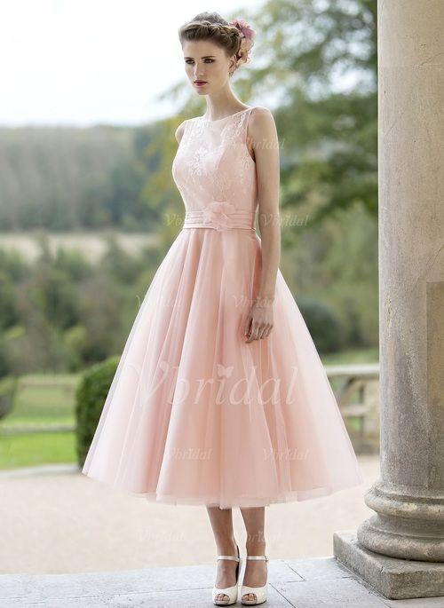 Brautkleider - $129.99 - A-Linie/Princess-Linie U-Ausschnitt Wadenlang Tüll Brautkleid mit Rüschen Spitze Blumen (0025095277)