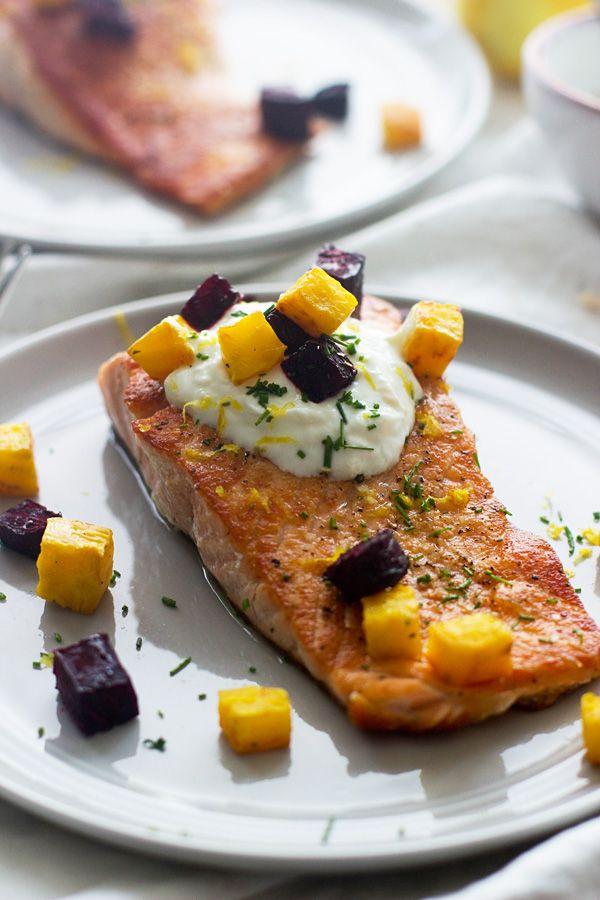 Crispy salmon with roasted beets and garlicky lemon yogurt for Yogurt sauce for fish