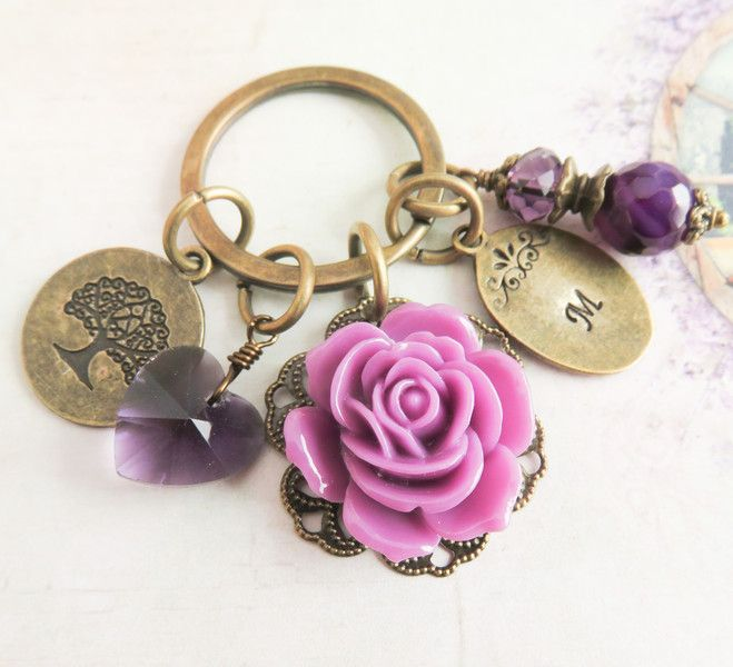Personalized purple flower bag charm. #keychain, #purple #flowers #handmade #handcrafted #gifts #personalized #women