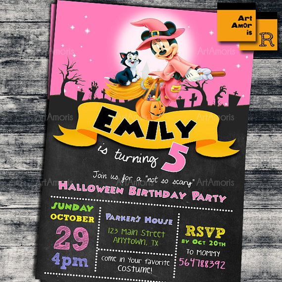 Halloween Birthday Invitation Minnie Birthday by ArtAmoris on Etsy