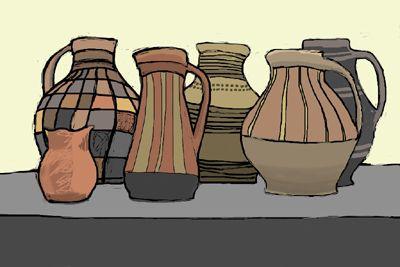 6 Pots, still life, Digital art, iPad Painting. Kathy Lewis