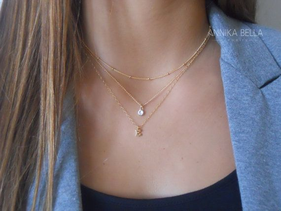 A #personalized set of 3 beautiful necklaces. Each necklace in this set is also perfect to wear alone or for layering with more necklaces.  Materials: Short necklace - Gold ...