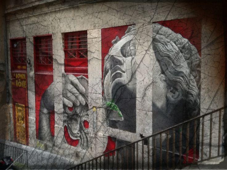 Ancient drama streetart at Lyon