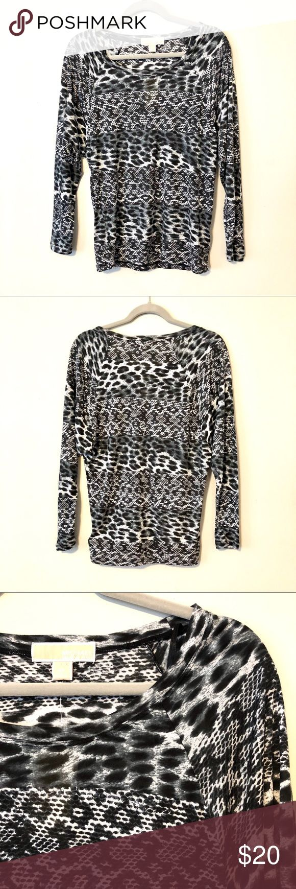 🆕Michael Kors Top Fun animal print top by Michael Kors. Complimentary colors of black, grey & white in a lightweight rayon fabric for a comfortable feel. NWT Michael Kors Tops Blouses
