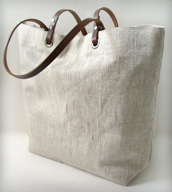 Linen and Leather Tote Bag by Independent Reign