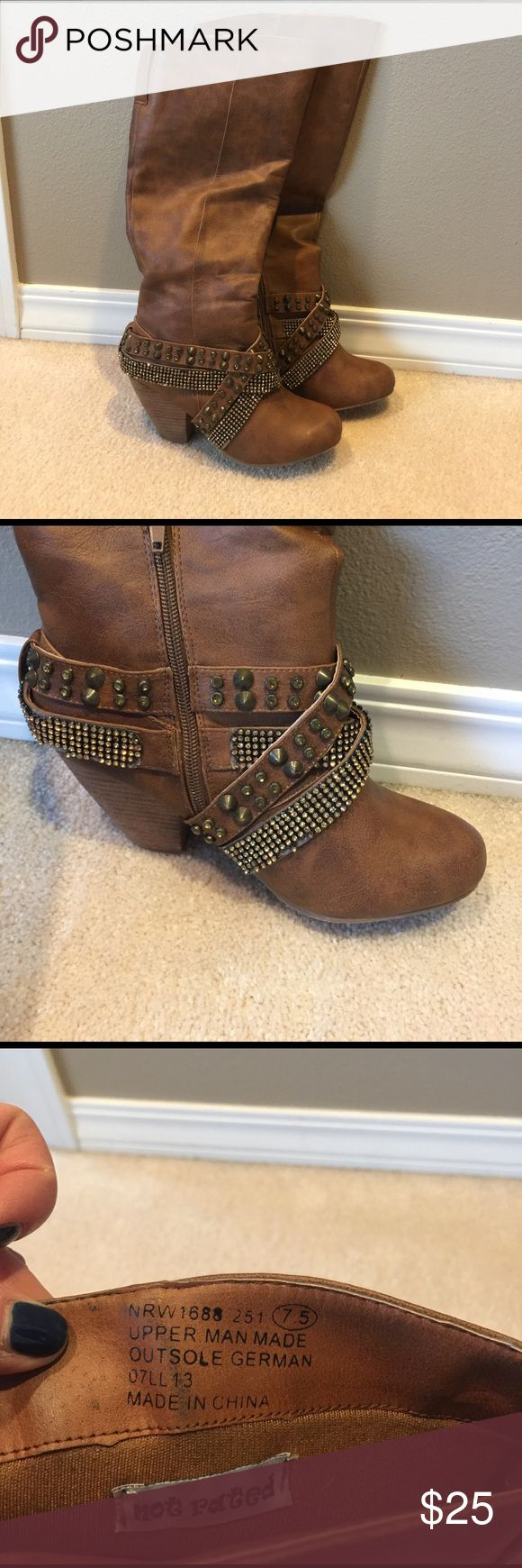 Not Rated boots Not Rated brown boot with studs 3 inch heel. Only worn about 6 times. Not Rated Shoes Heeled Boots
