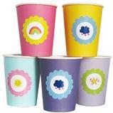 imagen: Vasos de colores con imagen flor de ositos cariñositos 8u