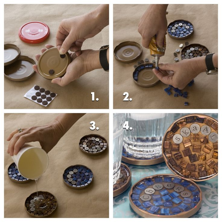 DIY Mosaic Coasters: salsa jar lids, mosaic tiles, and resin