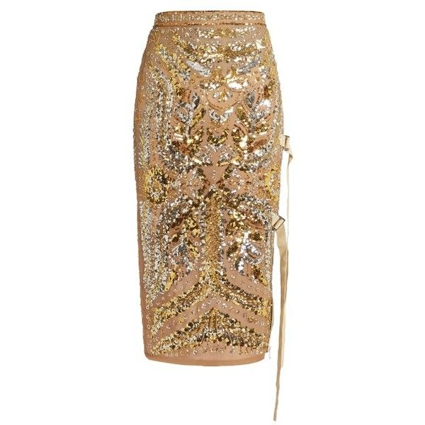 No. 21 Sequin-embellished pencil skirt ($2,494) ❤ liked on Polyvore featuring skirts, gold, embellished skirts, pencil skirt, slip skirt, brown pencil skirt and sequin pencil skirts