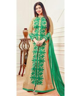 Wonderful Green And Beige Georgette Anarkali Suit.