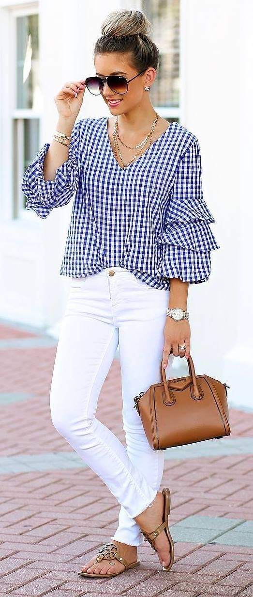 Blue gingham layered sleeve waist grazing blouse with white high waist denim, taupe suede chunky heel sandals (#SteveMadden) and a small brown vegan leather tote. Wearing your hair up in loose pinned curls with small barrel spirals in your bangs and side layers. by ellebasi