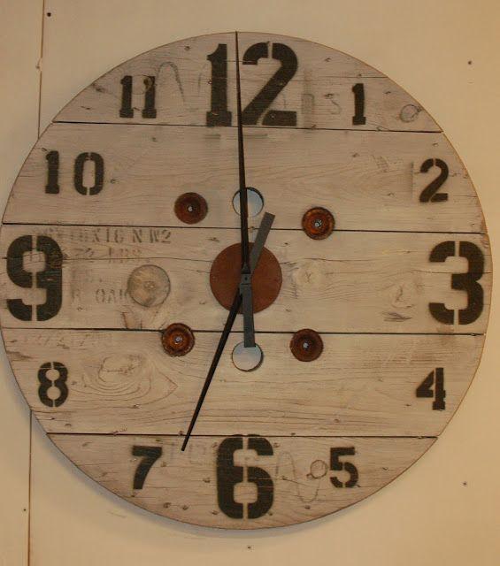 "Studio50 makers workshop 36"" salvaged spool loft clock"
