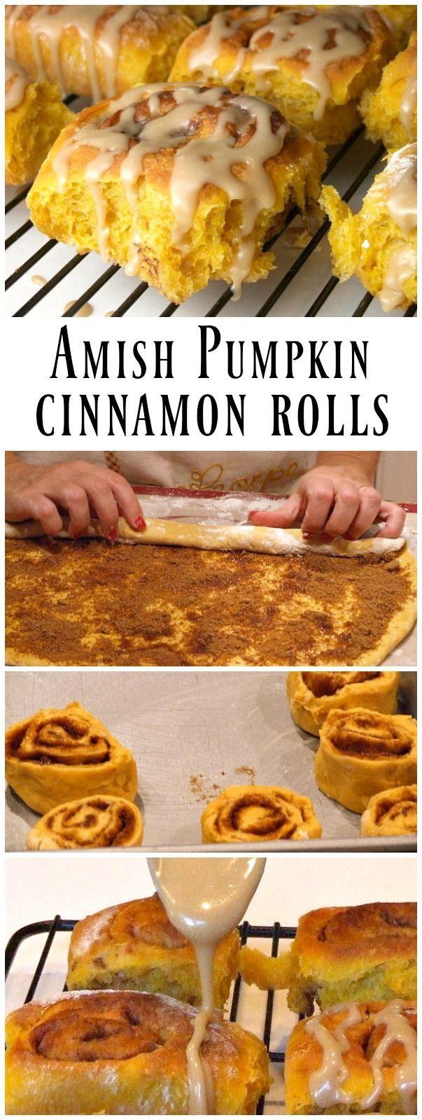 Amish Pumpkin Cinnamon Rolls - recipe from RecipeGirl.com (cinnabon icing recipe)