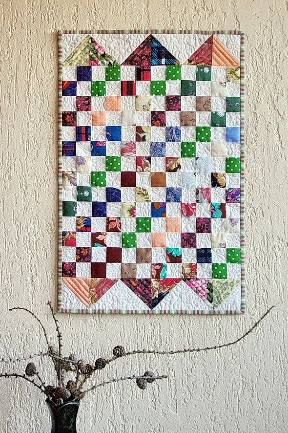 Mini quilt, wall hanging, free motion quilting / Лоскутное панно #wall hanging # mini quilt