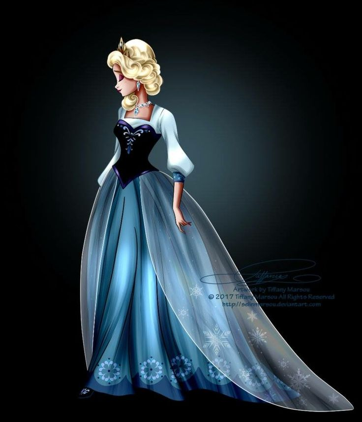Queen Elsa is a gorgeous gown that's a blend of her native Arendelle regalia and her ice queen raiment.