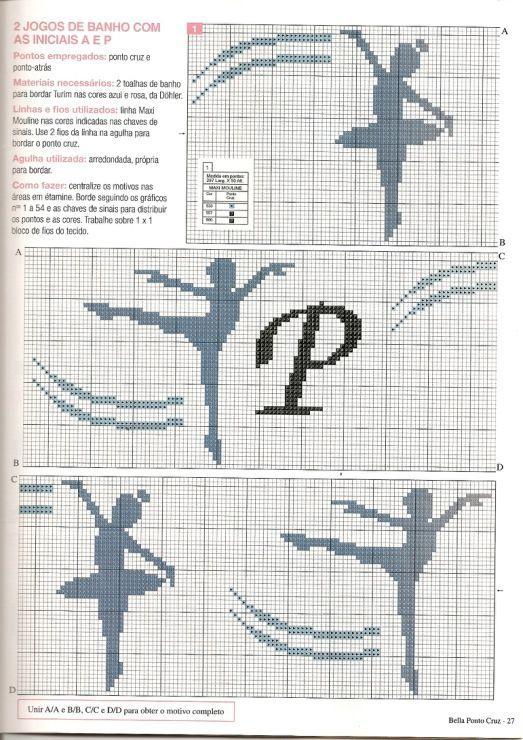0 point de croix silhouette danseuses - cross stitch dancers ballerina silhouettes