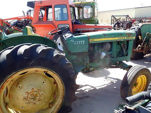 John Deere 1020 tractor salvaged for used parts. This unit is available at All States Ag Parts in Bridgeport, NE. Call 877-530-5010 parts. Unit ID#: EQ-23999. The photo depicts the equipment in the condition it arrived at our salvage yard. Parts shown may or may not still be available. http://www.TractorPartsASAP.com