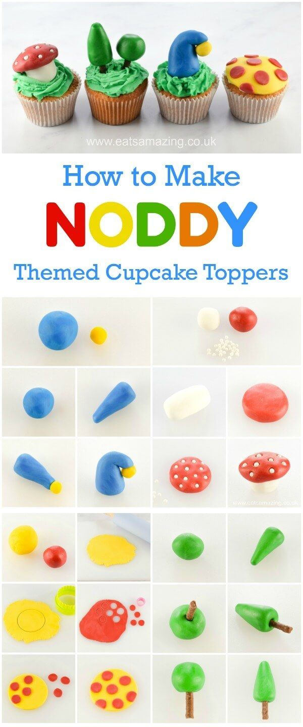How to make Fondant Noddy Cupcake Toppers - Easy fondant icing tutorial with video and step by step instructions - Eats Amazing UK
