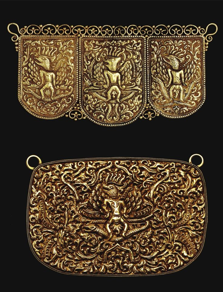 Indonesia ~ Southeast Maluku | Plaques with bird headed creatures; gold | 17th century or earlier | Were probably manufactured in southern Sulawesi | Source: 'Gold Jewellery of the Indonesian Archipelago', page 69