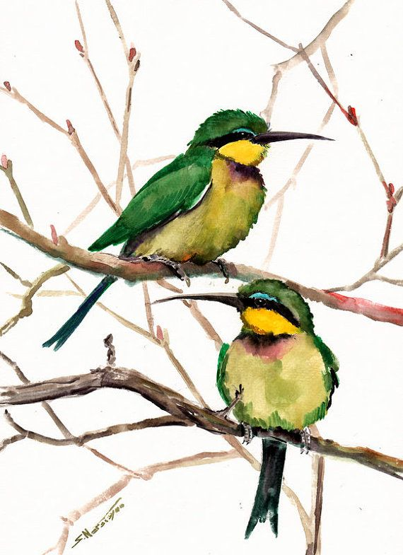Bee Eaters Original watercolor painting green by ORIGINALONLY, $42.00