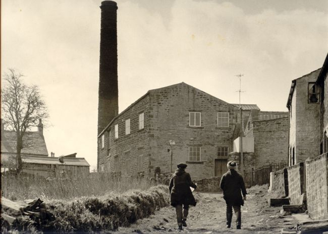 1961-1980 Black and white archive photograph of external view of Pave Shed Mill, Trawden where the Hull Traders printed their fabrics
