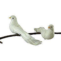 Festive White Doves Felt Clip-On Christmas Ornament - Set of 2