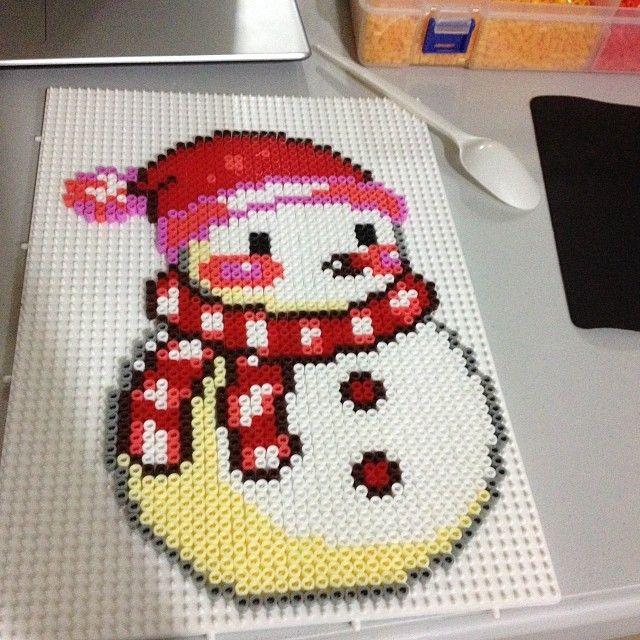 Christmas snowman hama perler beads by elsoknight