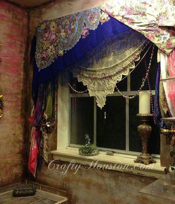 Bohemian window treatment. Love it!                                                                                                                                                     More