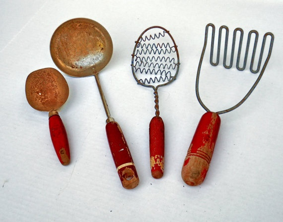 Vintage Antique Rustic Red Wooden Handled Farmhouse Kitchen Utensils