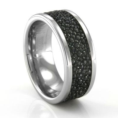 Tungsten Mens Wedding Band with Stingray Leather #TitaniumJewelry
