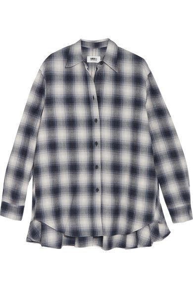 MM6 Maison Margiela - Oversized Plaid Brushed-cotton Shirt - Black