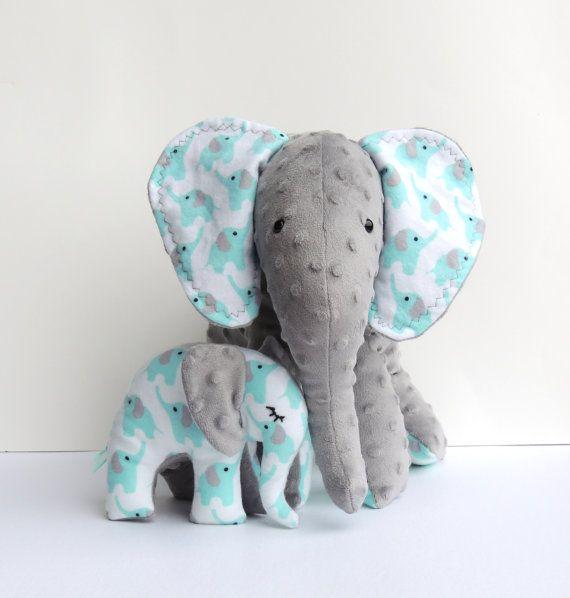 Aqua Grey Mother Baby Elephants--Minky Flannel Elephants--Stuffed Elephants--Elphant Nursery Decor