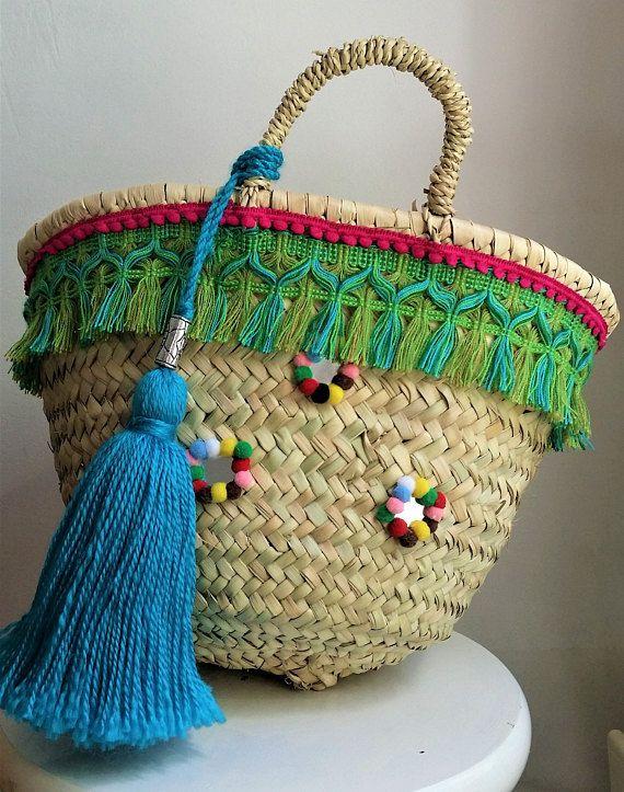Borse stile boho etnico molto elegante e cestino. Riviera francese e Co sta realizzando manualmente le borse e può essere custamised secondo i vostri requisiti.